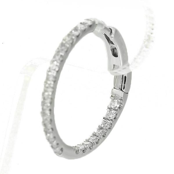K18ホワイトゴールド ダイヤモンド フープピアス 0.5ct 鑑別書付 保証書付 ギフト プレゼント