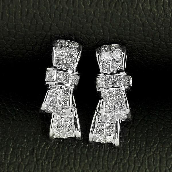 ダイヤモンド ピアス りぼん K18 ホワイトゴールド 0.5ct プリンセスカット 0.25×0.25ct リボン リボンモチーフ たて よこ 2way 鑑別書付 保証書付 インポート ギフト プレゼント 誕生石 4月