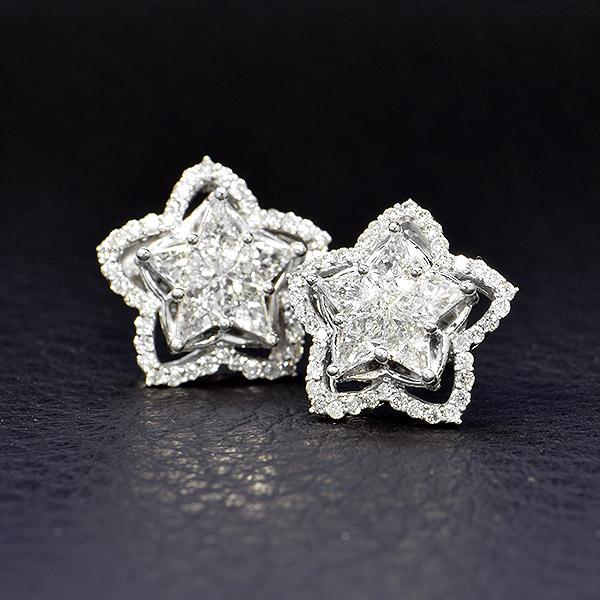 ダイヤモンド ピアス 星 スター K18 ホワイトゴールド 1.0ct 鑑別書付 保証書付 インポート ギフト プレゼント 贈り物 溢れる 輝き 豪華 ボリューム