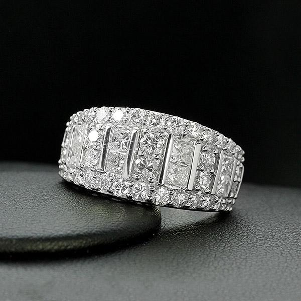 ダイヤモンド リング K18 ホワイトゴールド 2.0ct プリンセスカット 鑑別書付 保証書付 ギフト プレゼント 幅広 ボリューム 豪華 見栄え