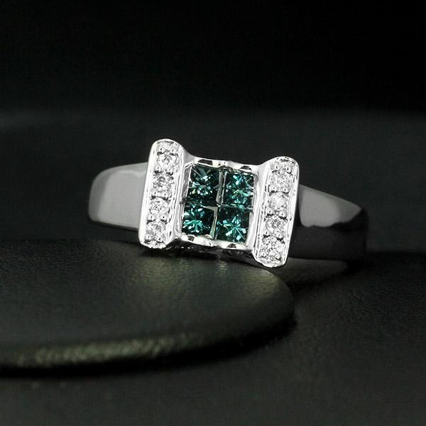 ダイヤモンド リング K18 ホワイトゴールド 0.5ct ブルーダイヤ トリートダイヤ 鑑別書付 保証書付 インポート 普段使い ギフト プレゼント 地金たっぷり 幅広 量感リッチ