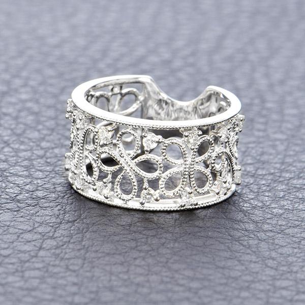 ダイヤモンド リング K18 ホワイトゴールド 0.2ct アンティーク調 レース 幅広 透かし 鑑別書付 保証書付 インポート 普段使い デイリー ギフト プレゼント