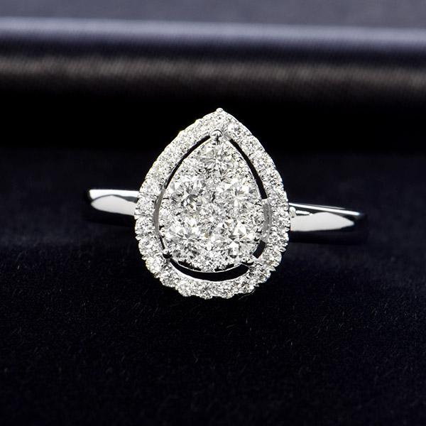 K18ホワイトゴールド ダイヤモンド リング ペアシェイプ 鑑別書付 保証書付 ギフト プレゼント