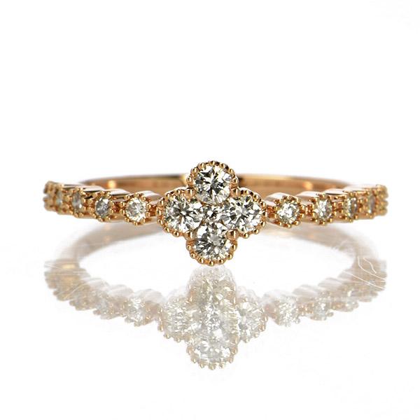 K18ピンクゴールド ダイヤモンド リング フラワー 鑑別書付 保証書付 ギフト プレゼント