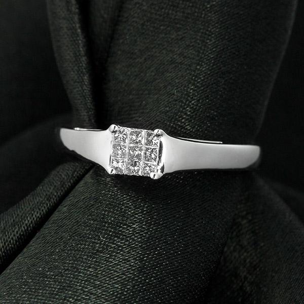 ダイヤモンド リング K18 ホワイトゴールド 0.1ct ミステリーセッティング 鑑別書付 保証書付 インポート 普段使い デイリー ギフト プレゼント 誕生石 こなれ感 デイリージュエル