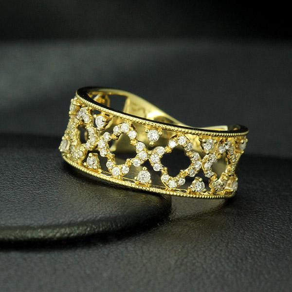 ダイヤモンド リング K18 フラワー イエローゴールド 0.3ct 花 鑑別書付 保証書付 インポート 普段使い デイリー ギフト プレゼント 幅広 透かし 抜け感