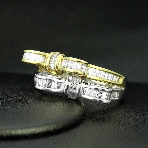 ダイヤモンド リング りぼん K18 イエローゴールド ホワイトゴールド 1.0ct リボン バケット ダイヤ 鑑別書付 保証書付 インポート ギフト プレゼント 見栄え ボリューム 豪華