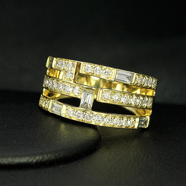ダイヤモンド リング K18 イエローゴールド 1.0ct バケット カット ダイヤ 鑑別書付 保証書付 インポート ギフト プレゼント 幅広 すっきり見え