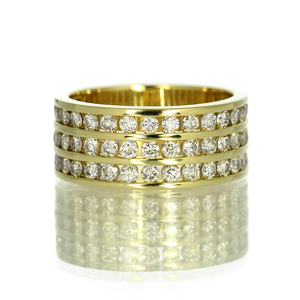 K18イエローゴールド ダイヤモンド1.43ct リング 幅広 鑑別書付 保証書付 ギフト プレゼント
