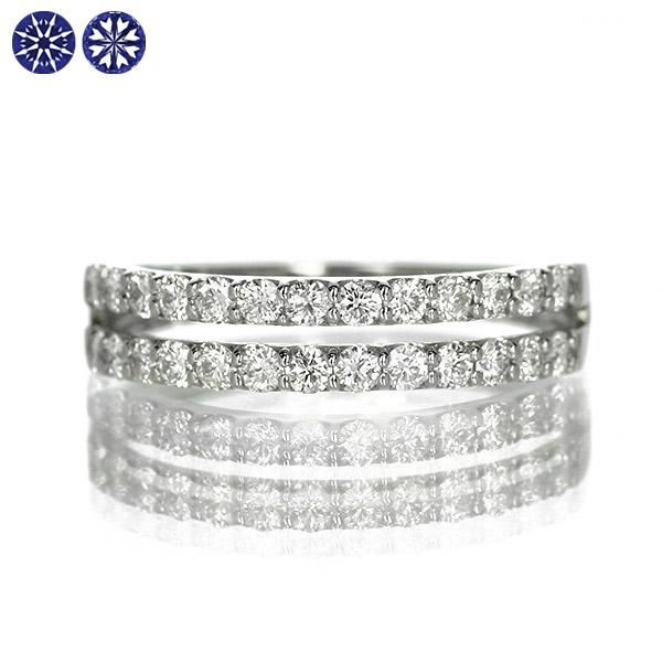 ダイヤモンド リング エタニティ Pt900 プラチナ 0.5ct ハートアンドキューピット 二連 鑑別カード 保証書付 普段使い デイリー ギフト プレゼント 結婚指輪 マリッジリング