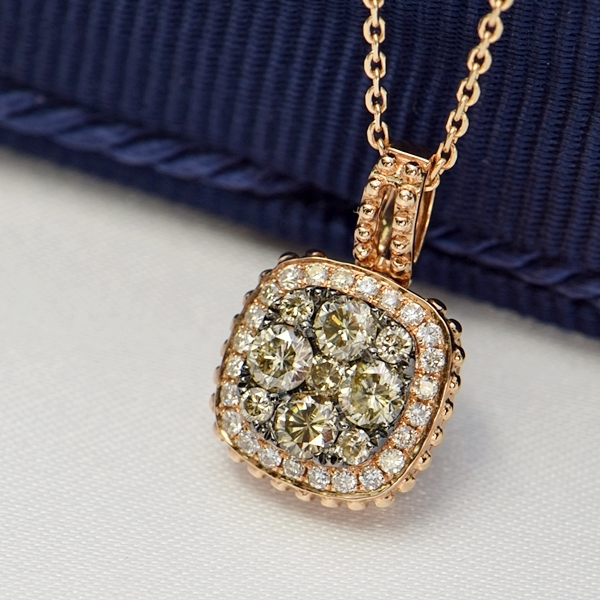 ダイヤモンド ネックレス 取り巻き 0.5ct K18 ピンクゴールド 鑑別書付 保証書付 スクエア インポート ギフト プレゼント 記念日 誕生石 4月