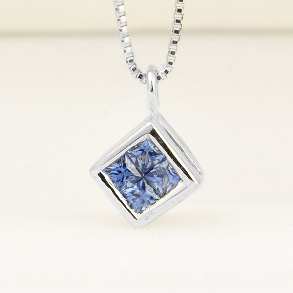 K18ホワイトゴールド サファイア ダイヤモンド ネックレス ミステリーセッティング 保証書付 ギフト プレゼント