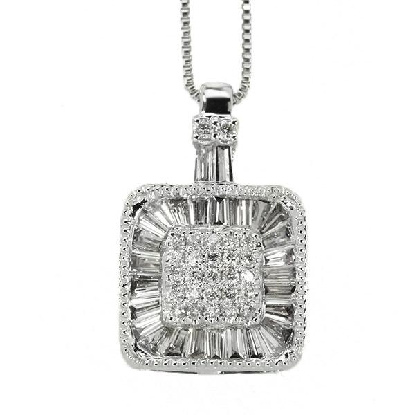 ダイヤモンド ネックレス 0.5ct K18 ホワイトゴールド テーパー ダイヤモンド 取り巻き スクエア 鑑別書付 保証書付 インポート ギフト プレゼント 記念日 誕生石
