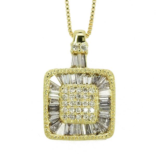 ダイヤモンド ネックレス 0.5ct K18 イエローゴールド テーパー ダイヤモンド 取り巻き スクエア 鑑別書付 保証書付 インポート ギフト プレゼント 記念日 誕生石