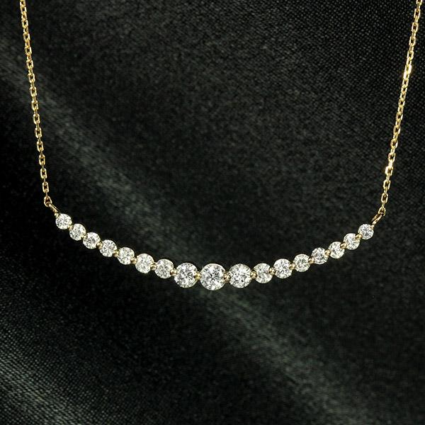 ダイヤモンド ネックレス 0.5ct K18ピンクゴールド ラインネックレス 鑑別書付 保証書付 ギフト プレゼント