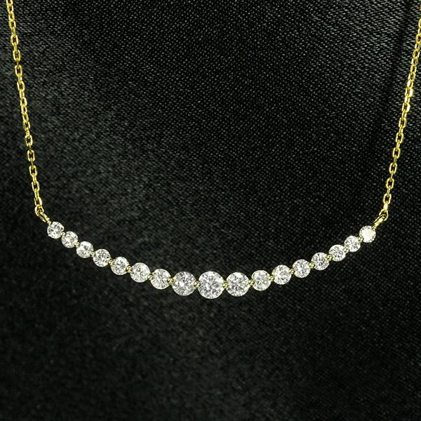 ダイヤモンド ネックレス ラインネックレス 0.5ct K18 イエローゴールド グラデーション 鑑別書付 保証書付 インポート 普段使い デイリー ギフト プレゼント 贈り物 誕生石