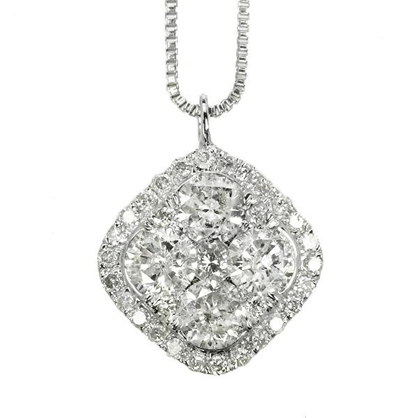 ダイヤモンド ネックレス 0.7ct K18 ホワイトゴールド スクエア ひし形 取り巻き 鑑別書付 保証書付 インポート ギフト プレゼント