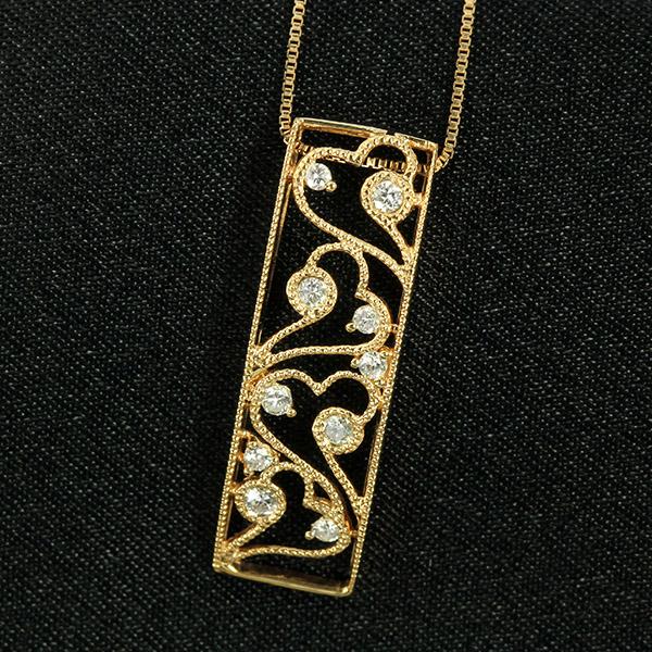 ダイヤモンド ネックレス 0.1ct K18 ピンクゴールド アンティーク調 透かし ミル打ち 鑑別書付 保証書付 ギフト プレゼント 普段使い デイリー