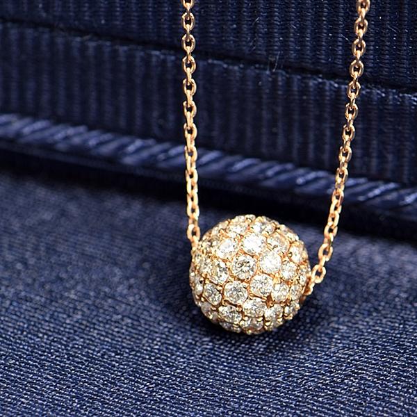 ダイヤモンド ネックレス パヴェ 0.7ct K18 ピンクゴールド ボール 球体 鑑別書付 保証書付 インポート ギフト プレゼント 記念日 誕生石 4月