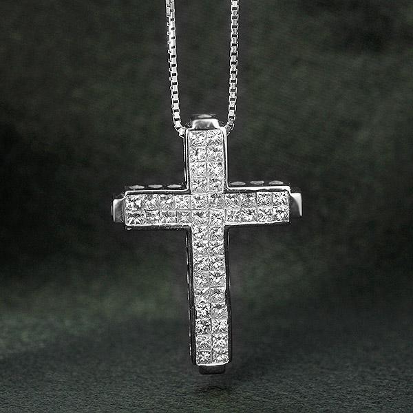ダイヤモンド ネックレス 1.0ct K18 ホワイトゴールド クロス 十字架 プリンセスカット 1カラット 鑑別書付 保証書付 インポート ギフト プレゼント