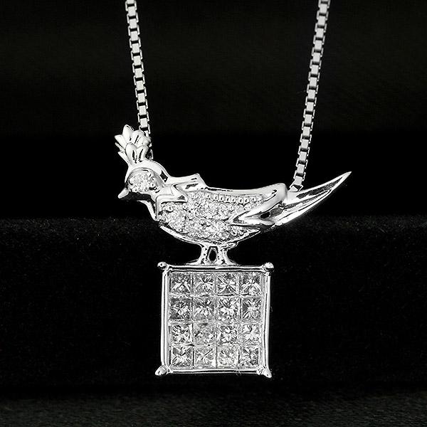 ダイヤモンド ネックレス 0.2ct K18 ホワイトゴールド 鳥 トリ アニマル モチーフ 鑑別書付 保証書付 インポート 普段使い デイリー ギフト プレゼント