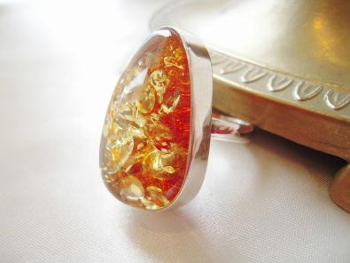 琥珀 指輪 リング ロシア産高級琥珀【こはくの指輪】 メンズシルバーリング 送料無料 パワーストーン 男性