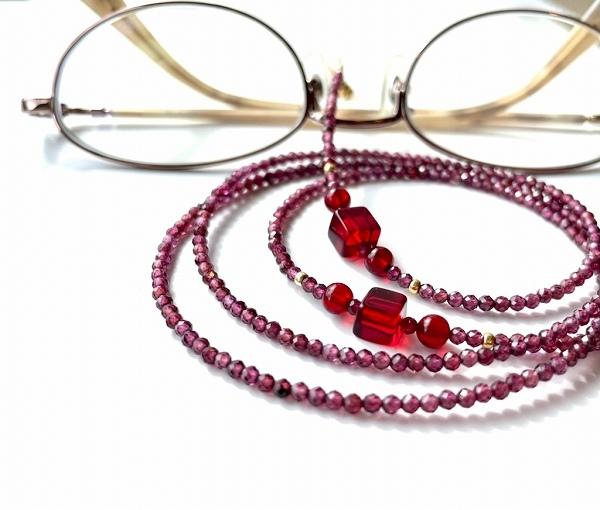 2020新作 ロードライトガーネットとレッドアンバーの素敵なメガネチェーン贈物に まとめ買い特価 ロードライトガーネット メガネチェーン 眼鏡チェーン レッドアンバー ロードライト 琥珀