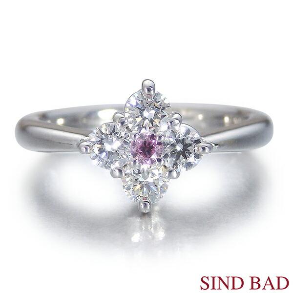 ピンクダイヤ 指輪 プラチナ 0.071ct ファンシーインテンスパープリッシュピンク ラウンドブリリアントカット AGTグレーディングレポート付き【ピンクダイヤ リング】