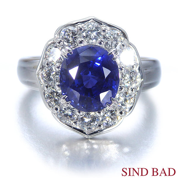 非加熱サファイヤ 指輪 プラチナ 3.825ct ダイヤ 0.898ct 中央宝石分析結果報告書付き【サファイヤ リング】