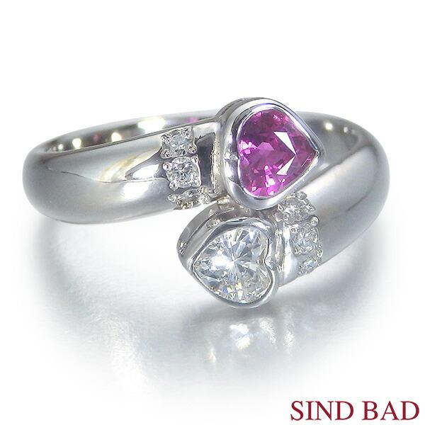 ピンクサファイア 指輪 サファイア プラチナ リング サファイヤ ハートシェイプ 0.343ct ダイヤ0.170ct 【ピンクサファイヤ】