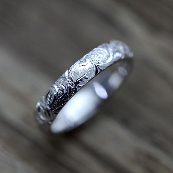 結婚指輪 K10WG ハワイアンジュエリー マイレ 花 葉 波 マリッジリング 手彫り彫刻 サンキュークーポン