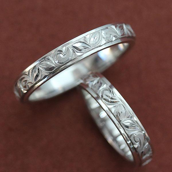 結婚指輪 プラチナ PT900(Pt90%) ハワイアンジュエリー ペアリング 手彫り彫刻 マリッジリング ペアリング