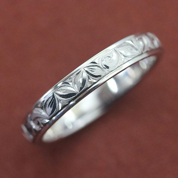 結婚指輪 K18WG ハワイアンジュエリー リング 手彫り彫刻 マリッジリング サンキュークーポン