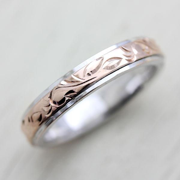 結婚指輪 プラチナ PT900(Pt90%)/ K18PG ハワイアンジュエリー リング 手彫り彫刻 マリッジコンビリング メンズリング