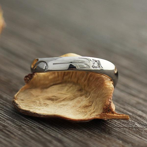 指輪 プラチナ100 12星座 牡羊座 シンボルマーク 彫刻 ダイヤ 0.01ct リング