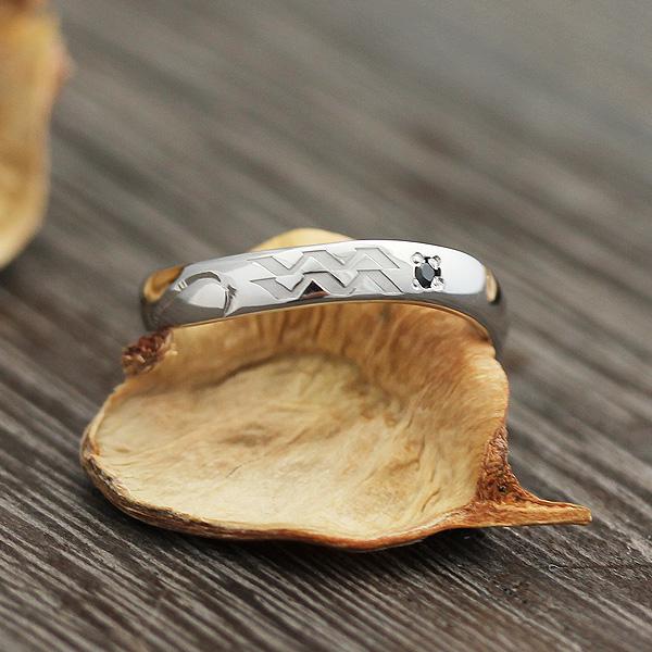 指輪 プラチナ100 12星座 水瓶座 シンボルマーク 彫刻 ダイヤ 0.01ct リング
