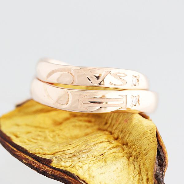 結婚指輪 ペアリング K10PG ダイヤ 0.01ct 12星座 シンボルマーク 彫刻