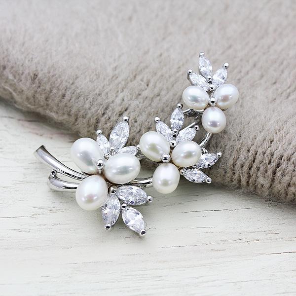 淡水真珠9P(6~8mm)キュービックジルコニア花束ブローチ【メール便可】