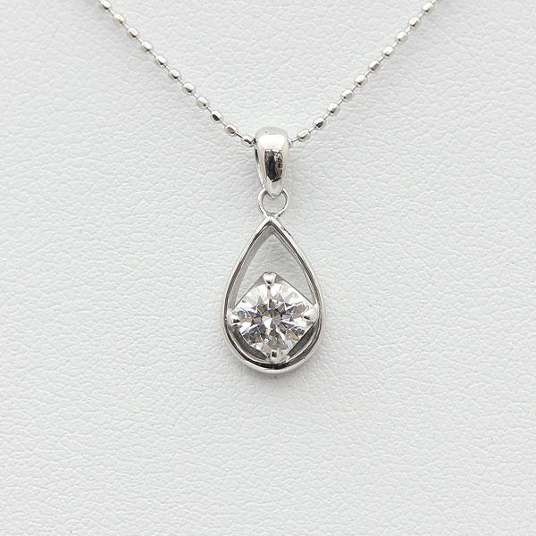 ネックレス ペンダント レディース K10WG 1粒 ダイヤモンド 0.3Ct UP 雫