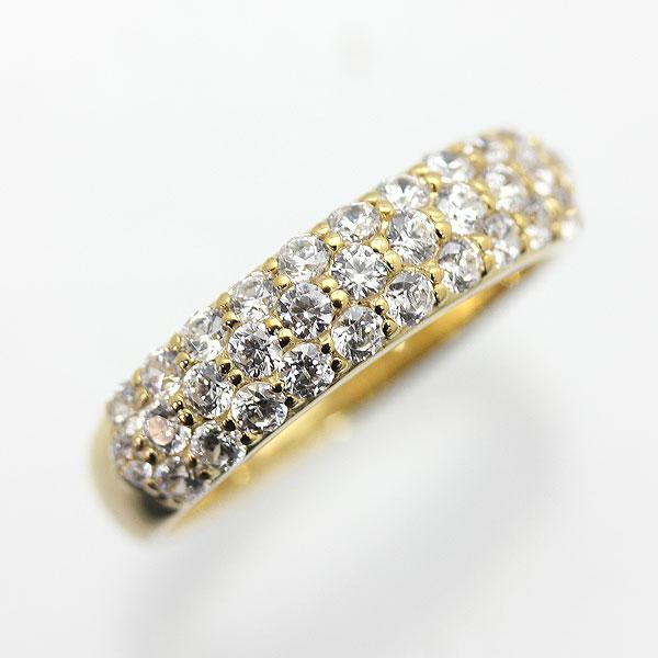 指輪 女性用 K10YG 0.7ct ダイヤモンド パヴェリング レディースリング