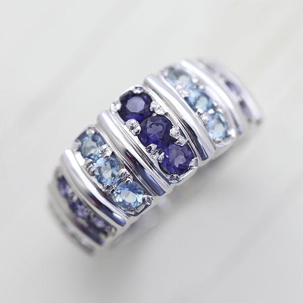 【刻印無料】爽やかなブルーグラデーション カラーストーンリング 指輪 女性用 K18WG カラーストーン グラデーション リング レディースリング サンキュークーポン