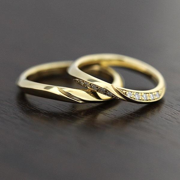 【SALE★30%以上OFF!】 【ポイント優待】 結婚指輪 ペアリング K18YG シンプルラインリング ダイヤモンド 0.10ct イエローゴールド マリッジリング サンキュークーポン