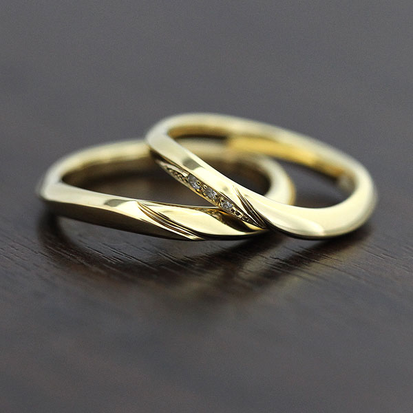 【SALE★30%以上OFF!】 【ポイント優待】 結婚指輪 ペアリング K10YG シンプルラインリング ダイヤモンド 0.03ct マリッジリング イエローゴールド ギフト プレゼント 彼女 サンキュークーポン