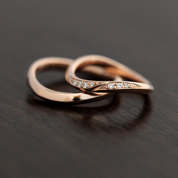結婚指輪 ペアリング K10PG ダイヤモンド 0.07ct マリッジリング ピンクゴールド ギフト プレゼント 彼女 サンキュークーポン