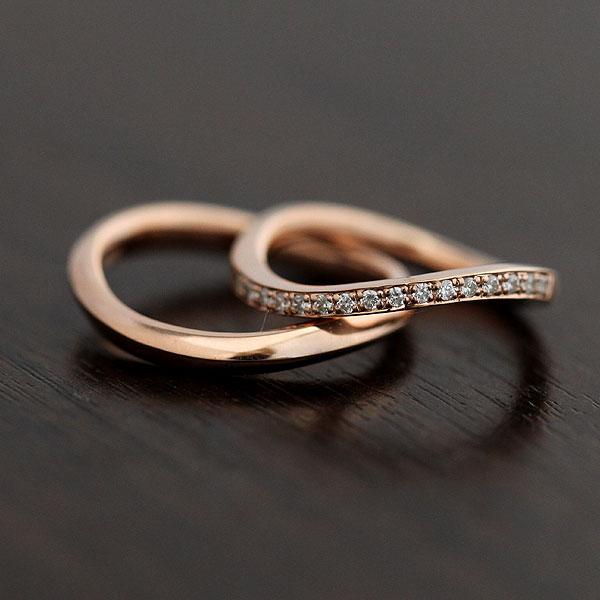 結婚指輪 ペアリング K10PG ダイヤモンド 0.18ct ピンクゴールド マリッジリング ハーフエタニティ サンキュークーポン