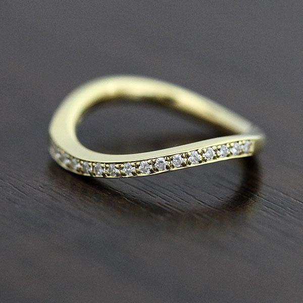 結婚指輪 K18YG ダイヤモンド 0.18ct イエローゴールド ハーフエタニティ レディースリング サンキュークーポン