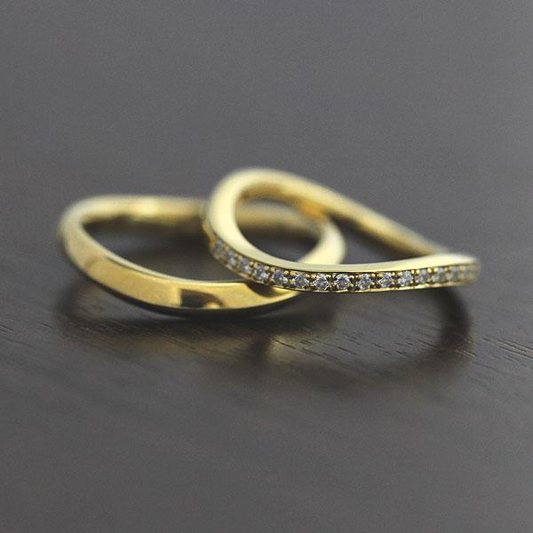 結婚指輪 ペアリング K18YG ダイヤモンド 0.18ct イエローゴールド マリッジリング ハーフエタニティ サンキュークーポン