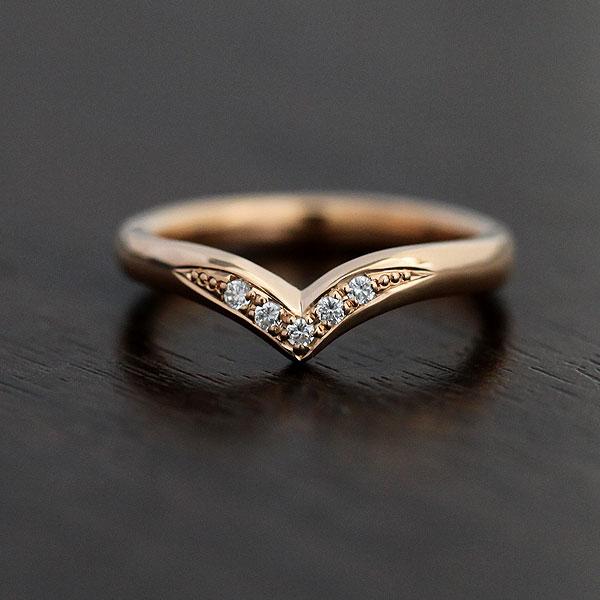 結婚指輪 K10PG ダイヤモンド 0.05ct K10 V字 ピンクゴールド レディースリング ギフト プレゼント 彼女 サンキュークーポン
