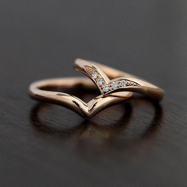 刻印無料 ダイヤモンド0.05カラット K10V字ペアリング 結婚指輪 ペアリング K10PG ダイヤモンド 0.05ct マリッジリング K10 V字 ピンクゴールド クリスマス