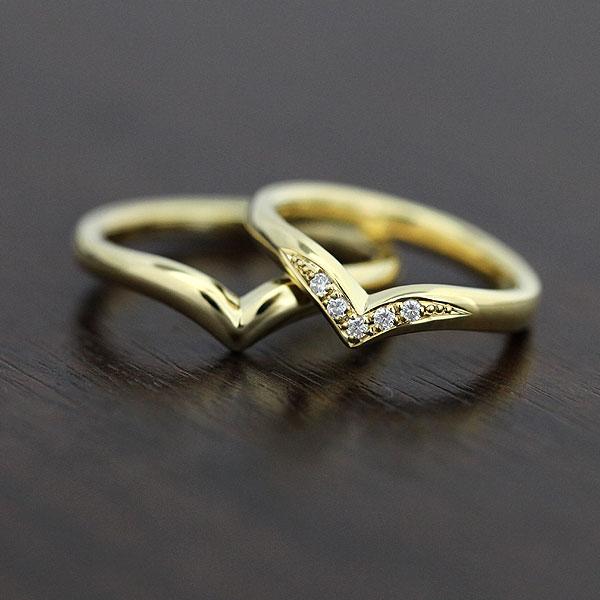 結婚指輪 ペアリング K10YG ダイヤモンド 0.05ct マリッジリング K10 V字 イエローゴールド サンキュークーポン
